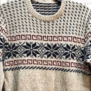 Vintage Snowflake Square Scroll Wool Sweater